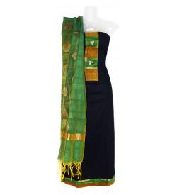 Black-b.n Plain Dress Material (Un-stitched) With Dupatta - DM1298