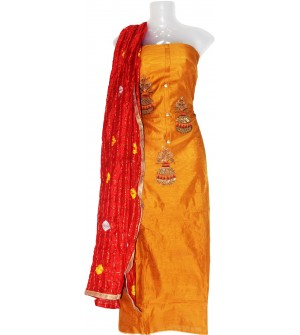 Matko Pot Design Cotton Dress Material (Un-stitched) With Fancy Silk Bhandej  Dupatta - DM1303