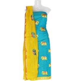 Hatchi Elephant Design Cotton Dress Material (Un-stitched) With Print Dupatta - DM1312