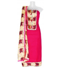 Elephant Design Dress Material (Un-stitched) With Print Dupatta - DM1317
