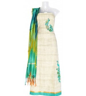 Cream Peacock Design Cotton Dress Material (Un-stitched) With Print Dupatta - DM1327