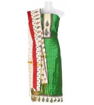 Print Patch Flower Design Cotton Dress Material (Un-stitched) With Dupatta - DM1343