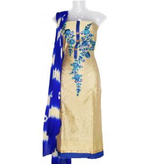 Chiku-Nek Cotton Embroidered Dress Material (Un-stitched) With Print Dupatta - DM1348