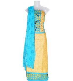 Cotton Dress Material (Un-stitched) With Print Dupatta - DM1353