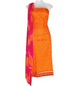 Jall Cotton Design Embroidered Dress Material (Un-stitched) With Dupatta (Orange) - DM1363