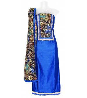 Zeel Blue Colored Partywear Embroidered Dress Material  (Un-stitched) With Print Dupatta - DM1387