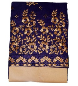 khushi Cotton Flower Design Embroidered Dress Material (Un-stitched) With Dupatta - DM1405