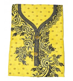 Heer-09 Cotton Embroidered Dress Material (Un-stitched) With Dupatta(Yellow) - DM1409