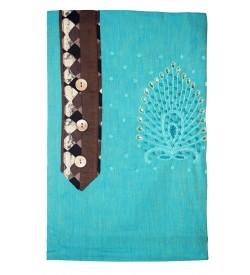 Kashish Stone Design Peacock Green Colour Cotton Salwar Kameez & Dupatta ( Unstitch ) -1478
