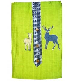 Kashish Deer Design Parrot green Colour Cotton Salwar Kameez & Dupatta ( Unstitch ) -1480