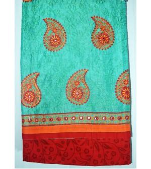 Kashish Mango Flower Design Green Colour Cotton Salwar Kameez & Dupatta ( Unstitch ) -1488