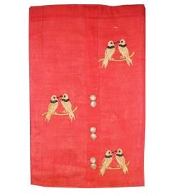 Kashish Parrot Design Peach Colour Cotton Salwar Kameez & Dupatta ( Unstitch ) -1490