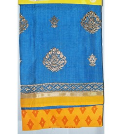 Kashish Flower Design Sky Blue Colour Cotton Salwar Kameez & Dupatta ( Unstitch ) -1494