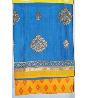 Kashish Flower Design Sky Blue Colour Cotton Salwar Kameez & Dupatta ( Unstitch ) -1494