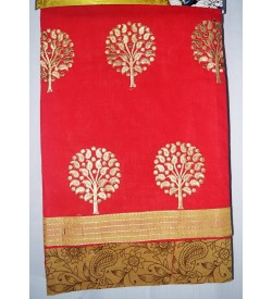 Kashish Tree Design Crimson Red  Colour Cotton Salwar Kameez & Dupatta ( Unstitch ) -1496
