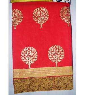 Kashish Tree Design Crimson Red  Colour Cotton Salwar Kameez & Dupatta ( Unstitch ) -1496