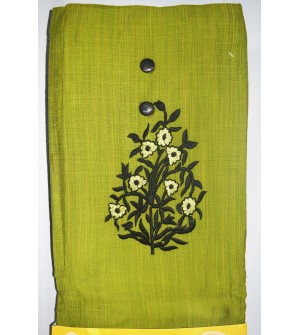 Kashish Flower Plant Design Parrot Green Colour Cotton Salwar Kameez & Dupatta ( Unstitch ) -1502