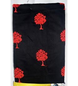 Kashish Tree Design Bottom Pattu Flower Design Black Colour Cotton Salwar Kameez & Dupatta ( Unstitch ) -1516