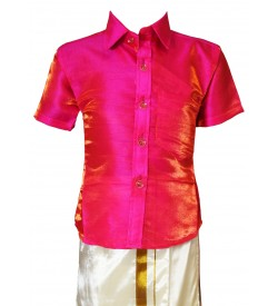 AK Kutti Mappillai Cotton Shining Shirt and Dhoti Set For Kids/Boys Velcro Hip Closure Dhoties -KI0378