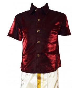 AK Kutti Mappillai Cotton Shining Shirt and Dhoti Set For Kids/Boys Velcro Hip Closure Dhoties -KI0381