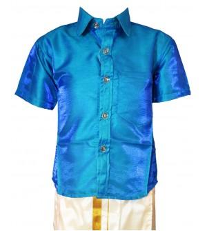 AK Kutti Mappillai Cotton Shining Shirt and Dhoti Set For Kids/Boys Velcro Hip Closure Dhoties -KI0384