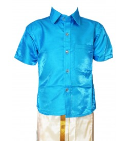 AK Kutti Mappillai Cotton Shining Shirt and Dhoti Set For Kids/Boys Velcro Hip Closure Dhoties -KI0386