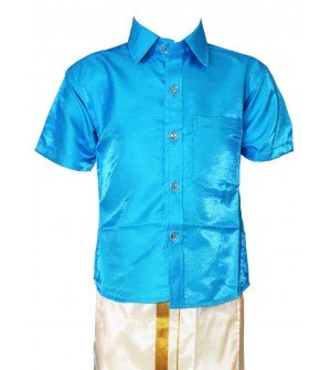 AK Kutti Mappillai Cotton Shining Shirt and Dhoti Set For Kids/Boys Velcro Hip Closure Dhoties -KI0386