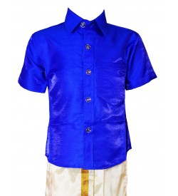 AK Kutti Mappillai Cotton Shining Shirt and Dhoti Set For Kids/Boys Velcro Hip Closure Dhoties -KI0388