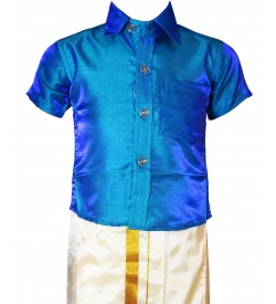 AK Kutti Mappillai Cotton Shining Shirt and Dhoti Set For Kids/Boys Velcro Hip Closure Dhoties -KI0392