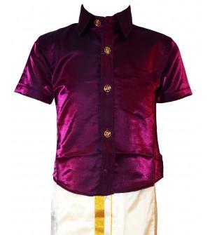 AK Kutti Mappillai Cotton Shining Shirt and Dhoti Set For Kids/Boys Velcro Hip Closure Dhoties -KI0394