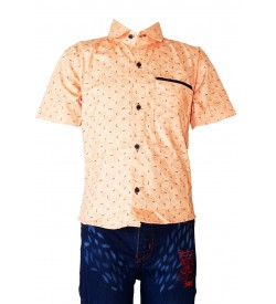 Desi Apple Skin Printed Shirt with Jeans Trousers For Kids Boys - 0668