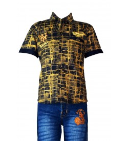 Desi Apple Multi Printed Shirt with Jeans Trousers For Kids Boys - 0672