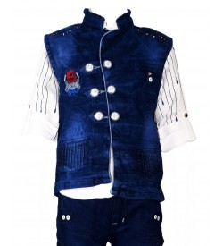 Very Good Boy White Full Sleeve Shirt with Jeans Coat And Jeans Trousers For Kids Boys - 0674