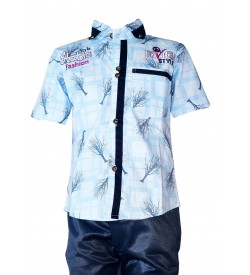 Style Fashion Shirt with Cotton Trousers For Kids Boys - 0683