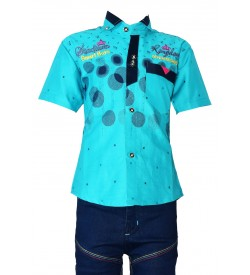 Smart Boys Shirt with Jeans Trousers For Kids Boys - 0685