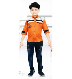 Very Good Boy Orange Full Sleeve Shirt with Jeans Trousers For Kids Boys - 9032