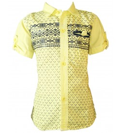 P-Don2 Yellow Regular Fit Printed Casual Shirt For Boys - 0740