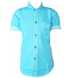 Bozzio Aqua Blue Regular Fit Plain Casual Shirt For Boys - 0746