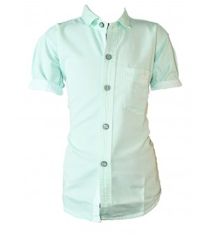Bozzio Green Regular Fit Plain Casual Shirt For Boys - 0748