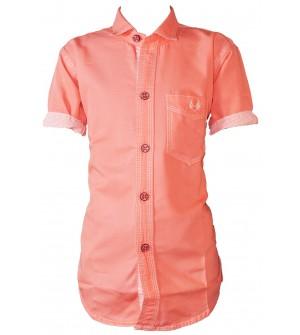Bozzio Peach Regular Fit Plain Casual Shirt For Boys - 0750