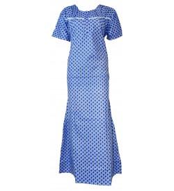 Madeena Paipeing 1/2 Sleeve Printed Zip Nighty For Women's (Blue) - 1104