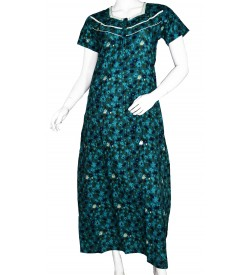 Indus Anush 1/2 Sleeve Rama Green Printed Nighty For Women's - 0119
