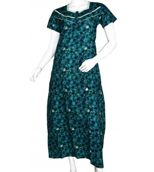 Indus Anush 1/2 Sleeve Rama Green Printed Nighty For Women's - 0119