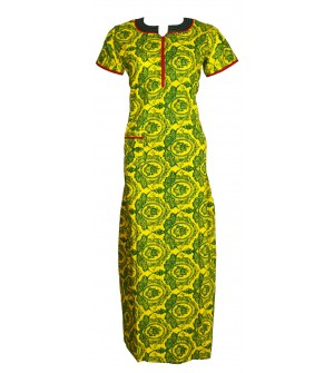 Pommys Dream Wear Yellow Printed Nighty For Women's -0131