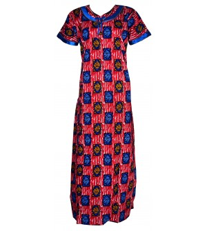 Pommys Picot Slim Fit Multi Colour  Design Nighty For Women's - 0141
