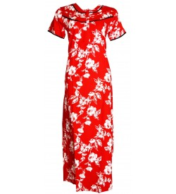 Indus Zama (sattin) 1/2 Sleeve Red White Printed Nighty For Women's - 0150