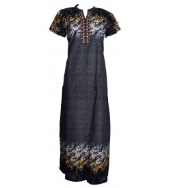 Indus Hansi White Dot Emp Printed Coller Nighty For Women's - 0159