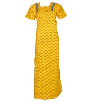 Safiyas Lady Care Yellow Design Nighty For Women's - 0171
