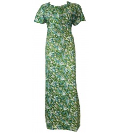 Madeena Paipeing 1/2 Sleeve Green Flower Printed Zip Nighty For Women's - 1100