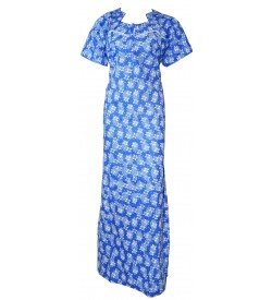 Madeena Paipeing 1/2 Sleeve Flower Printed Zip Nighty For Women's (Blue) - 1102